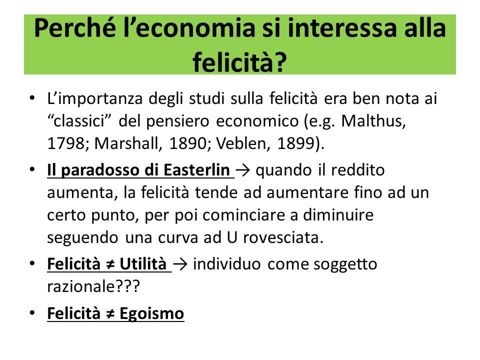 Perché leconomia si interessa alla felicità? Limportanza degli studi sulla felicità era ben nota aiclassici del pensiero economico (e.g. Malthus, 1798