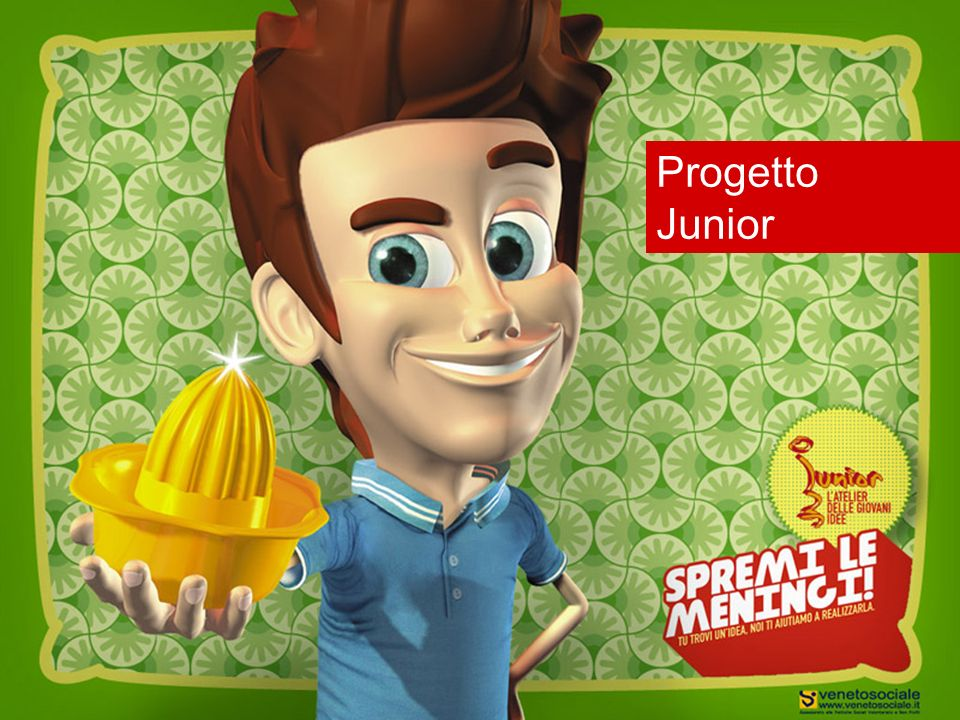 Il progetto Junior Junior è uniniziativa triennale di sostegno per lo sviluppo di progetti ed idee promosse dai giovani per i giovani finanziato dallAssessorato alle Politiche sociali della Regione Veneto e gestito dallOsservatorio Regionale Permanente sulla Condizione Giovanile.