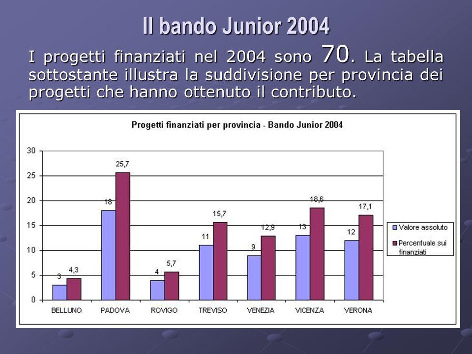 I progetti finanziati nel 2004 sono 70.