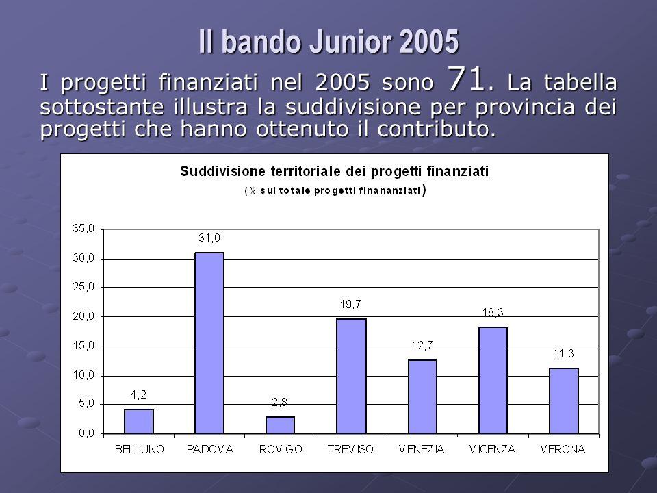 I progetti finanziati nel 2005 sono 71.