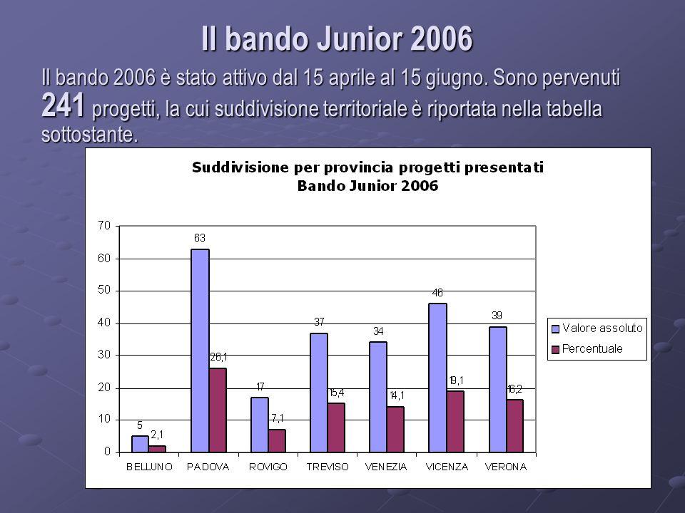 Il bando Junior 2006 Il bando 2006 è stato attivo dal 15 aprile al 15 giugno.
