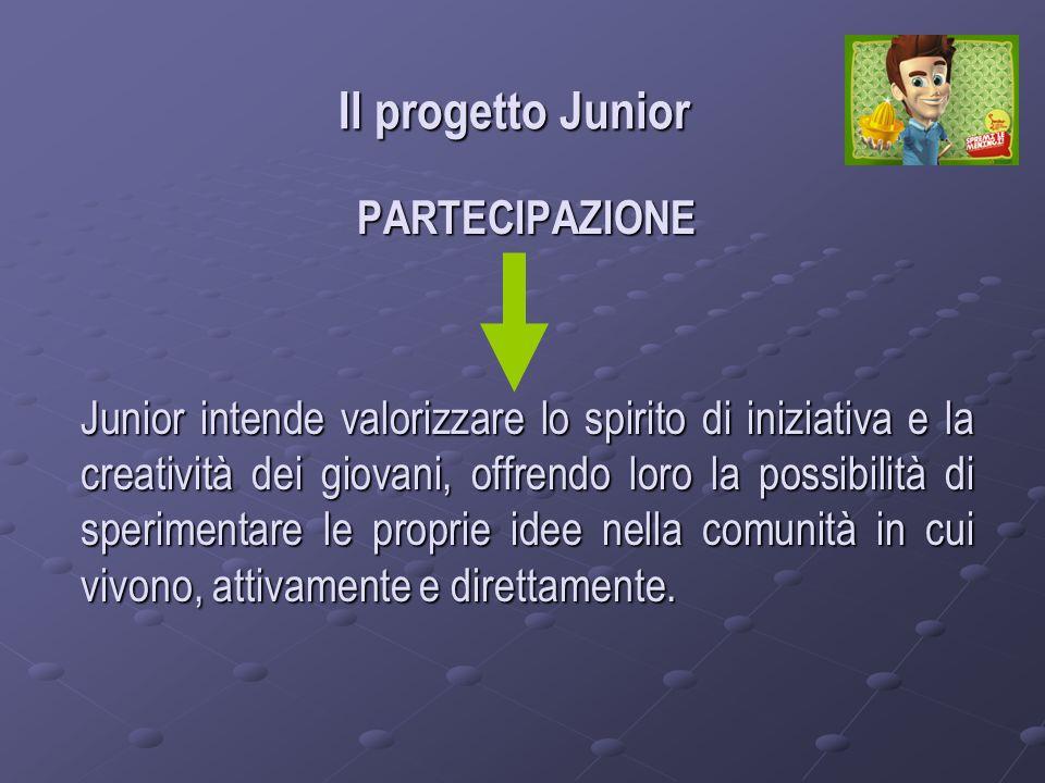Il progetto Junior PARTECIPAZIONE Junior intende valorizzare lo spirito di iniziativa e la creatività dei giovani, offrendo loro la possibilità di sperimentare le proprie idee nella comunità in cui vivono, attivamente e direttamente.