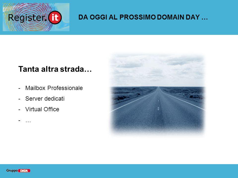DA OGGI AL PROSSIMO DOMAIN DAY … Tanta altra strada… -Mailbox Professionale -Server dedicati -Virtual Office -…