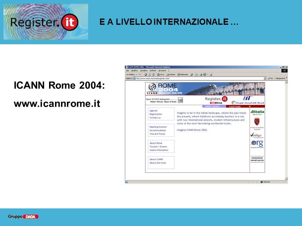 E A LIVELLO INTERNAZIONALE … ICANN Rome 2004: www.icannrome.it