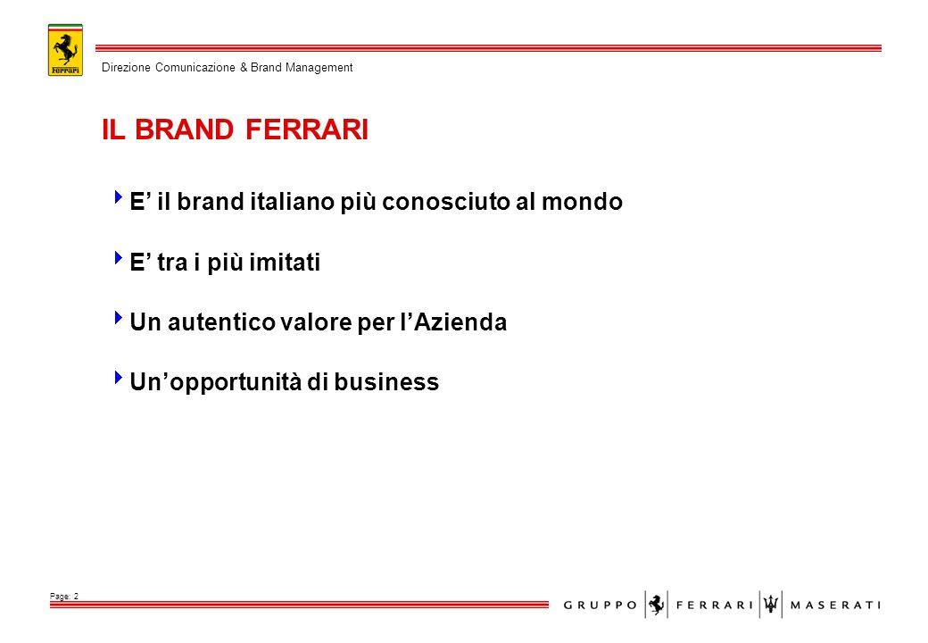 E il brand italiano più conosciuto al mondo E tra i più imitati Un autentico valore per lAzienda Unopportunità di business IL BRAND FERRARI Direzione