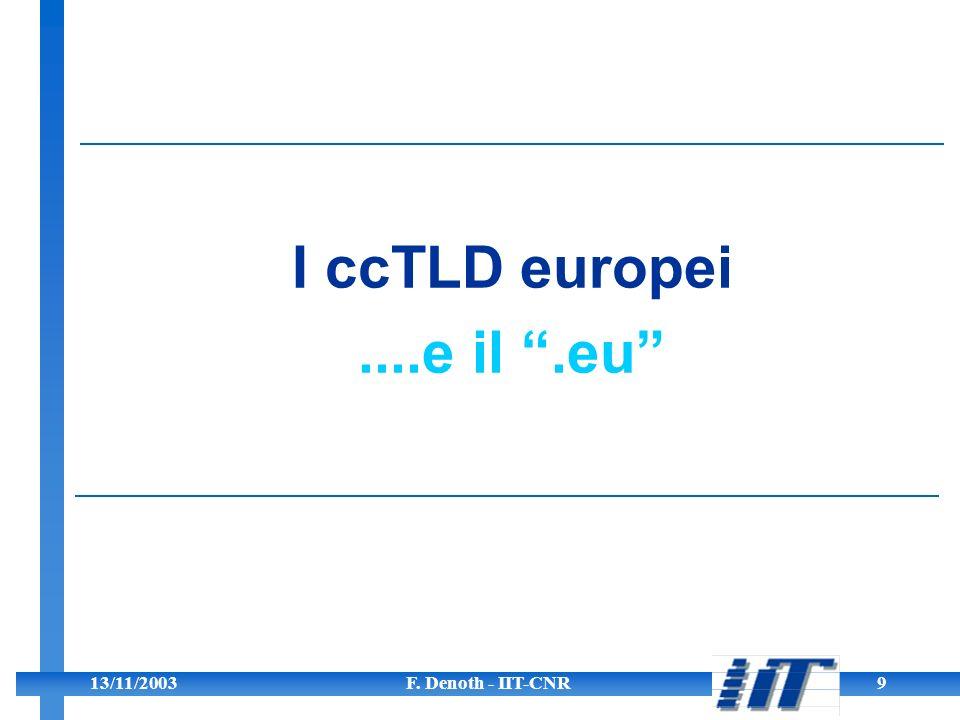 13/11/2003F. Denoth - IIT-CNR9 I ccTLD europei....e il.eu