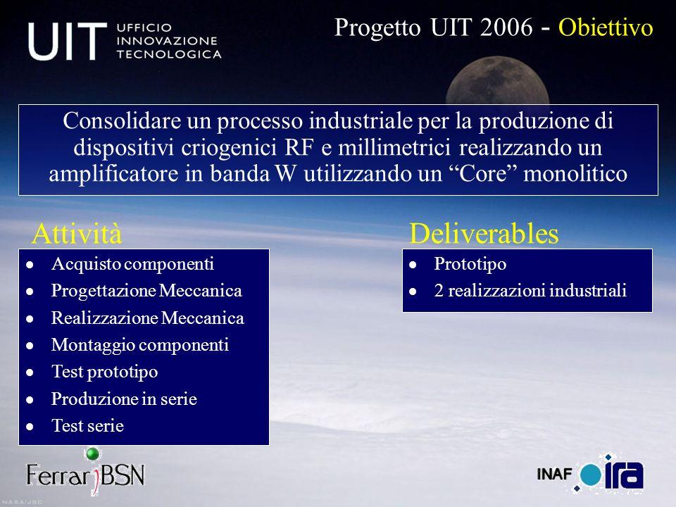 Progetto UIT 2006 - Obiettivo Consolidare un processo industriale per la produzione di dispositivi criogenici RF e millimetrici realizzando un amplifi