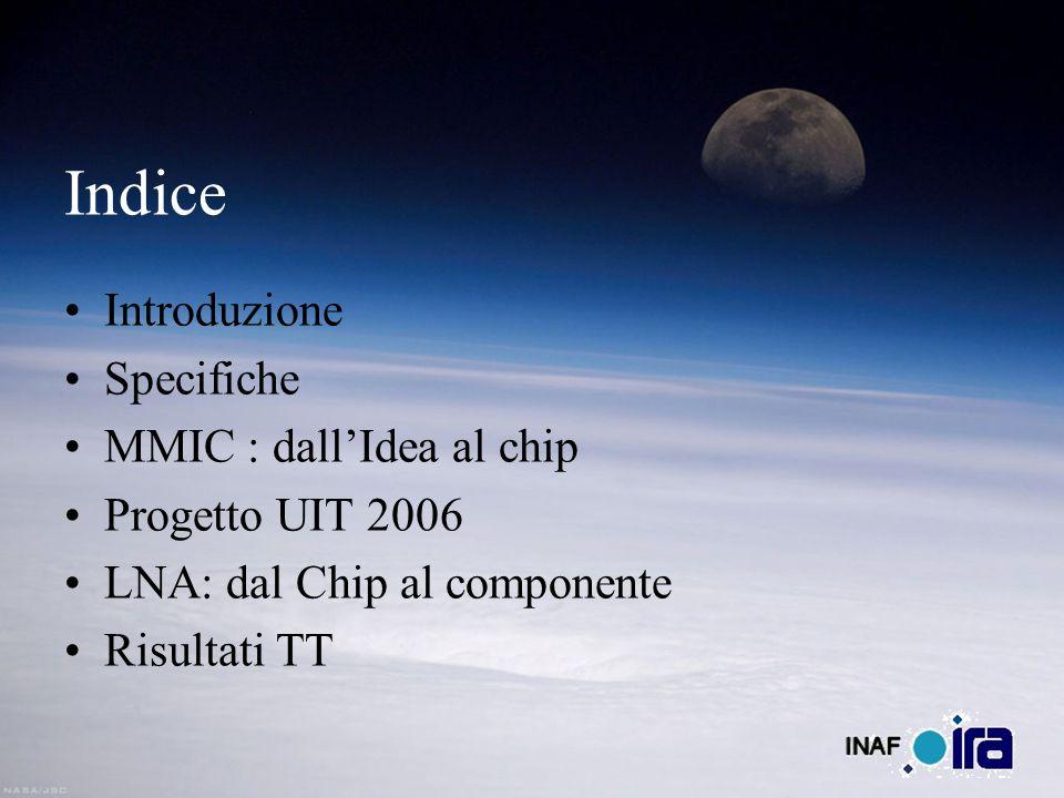 Indice Introduzione Specifiche MMIC : dallIdea al chip Progetto UIT 2006 LNA: dal Chip al componente Risultati TT