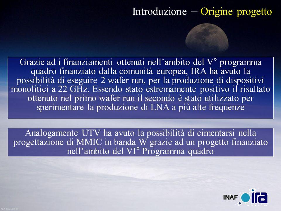 Introduzione – Origine progetto Grazie ad i finanziamenti ottenuti nellambito del V° programma quadro finanziato dalla comunità europea, IRA ha avuto la possibilità di eseguire 2 wafer run, per la produzione di dispositivi monolitici a 22 GHz.