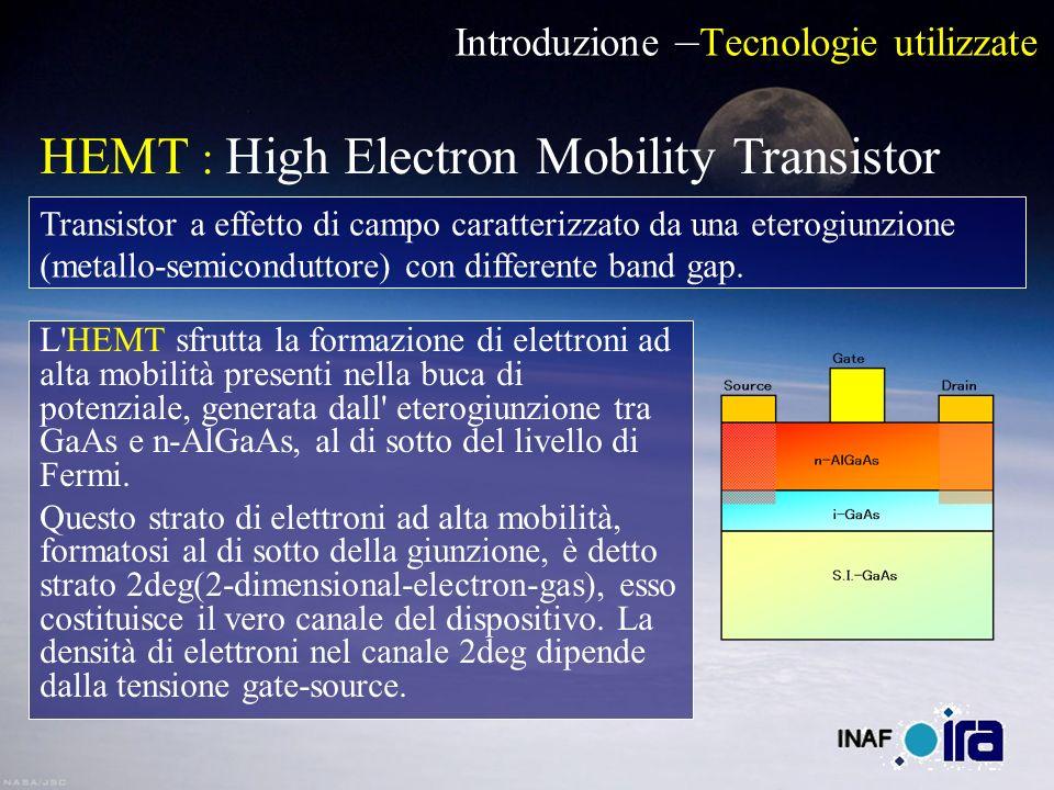 Introduzione – Tecnologie utilizzate L HEMT sfrutta la formazione di elettroni ad alta mobilità presenti nella buca di potenziale, generata dall eterogiunzione tra GaAs e n-AlGaAs, al di sotto del livello di Fermi.