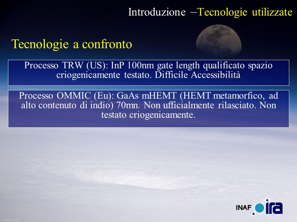 Introduzione – Tecnologie utilizzate Processo TRW (US): InP 100nm gate length qualificato spazio criogenicamente testato. Difficile Accessibilità Tecn