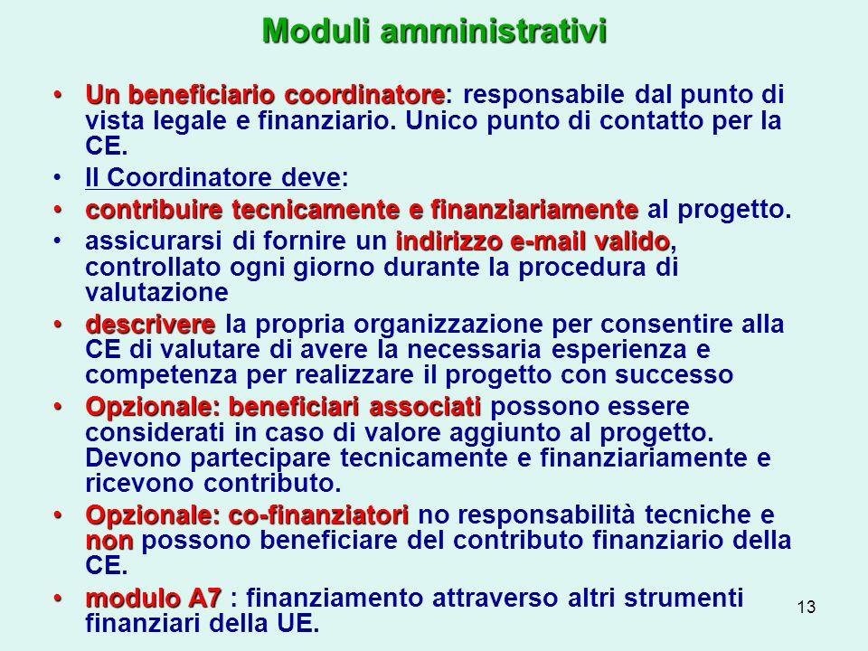 13 Moduli amministrativi Un beneficiario coordinatoreUn beneficiario coordinatore: responsabile dal punto di vista legale e finanziario.