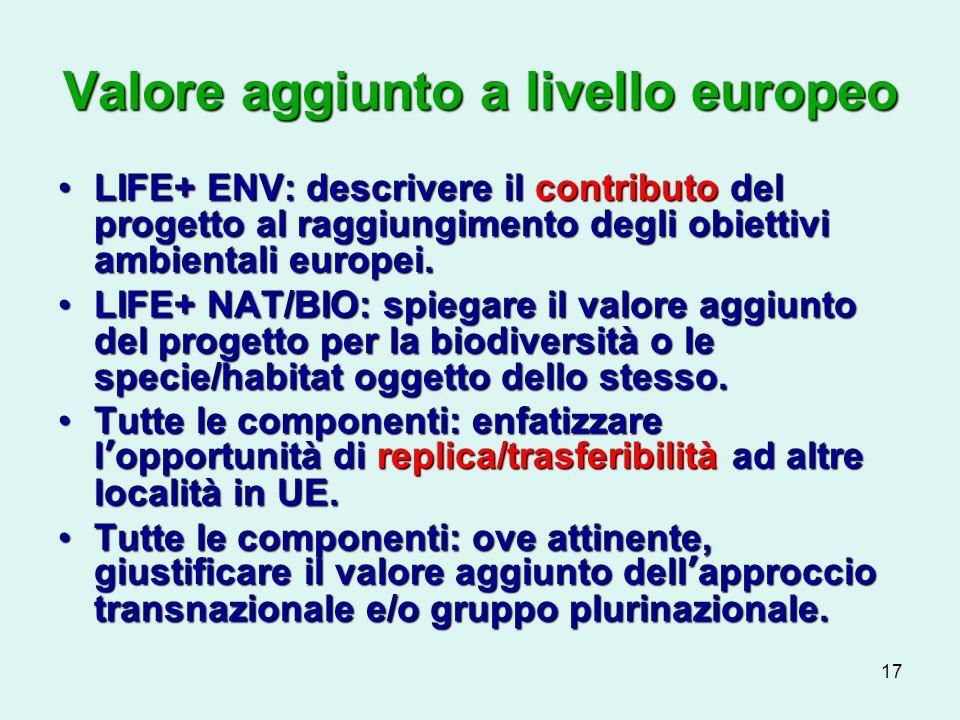 17 Valore aggiunto a livello europeo LIFE+ ENV: descrivere il contributo del progetto al raggiungimento degli obiettivi ambientali europei.LIFE+ ENV: descrivere il contributo del progetto al raggiungimento degli obiettivi ambientali europei.