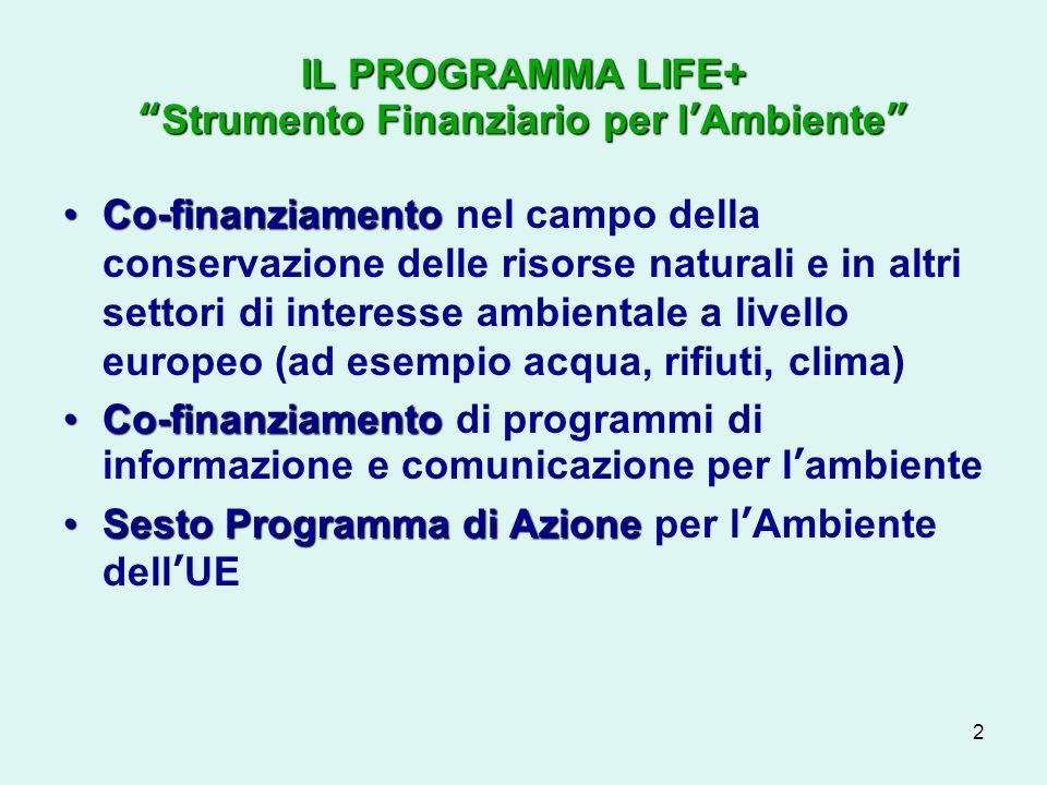 2 IL PROGRAMMA LIFE+Strumento Finanziario per lAmbiente Co-finanziamentoCo-finanziamento nel campo della conservazione delle risorse naturali e in altri settori di interesse ambientale a livello europeo (ad esempio acqua, rifiuti, clima) Co-finanziamentoCo-finanziamento di programmi di informazione e comunicazione per lambiente Sesto Programma di AzioneSesto Programma di Azione per lAmbiente dellUE