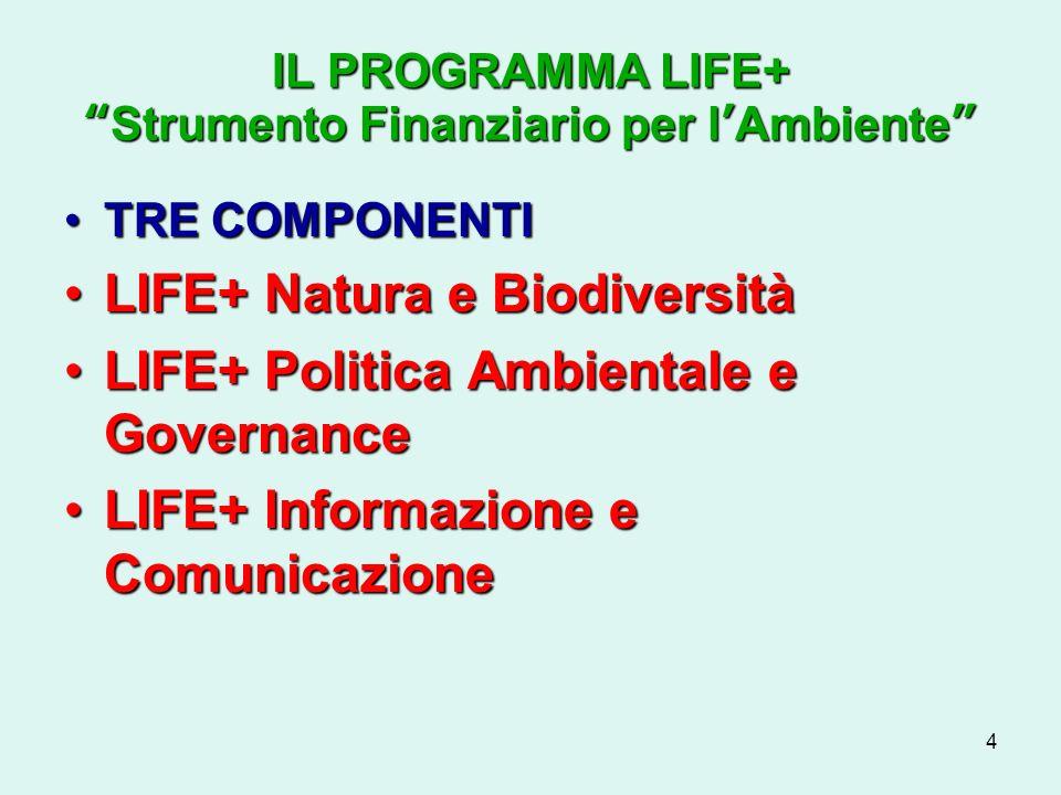 4 IL PROGRAMMA LIFE+Strumento Finanziario per lAmbiente TRE COMPONENTITRE COMPONENTI LIFE+ Natura e BiodiversitàLIFE+ Natura e Biodiversità LIFE+ Politica Ambientale e GovernanceLIFE+ Politica Ambientale e Governance LIFE+ Informazione e ComunicazioneLIFE+ Informazione e Comunicazione