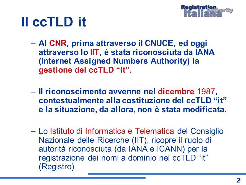Il ccTLD it –Al CNR, prima attraverso il CNUCE, ed oggi attraverso lo IIT, è stata riconosciuta da IANA (Internet Assigned Numbers Authority) la gesti
