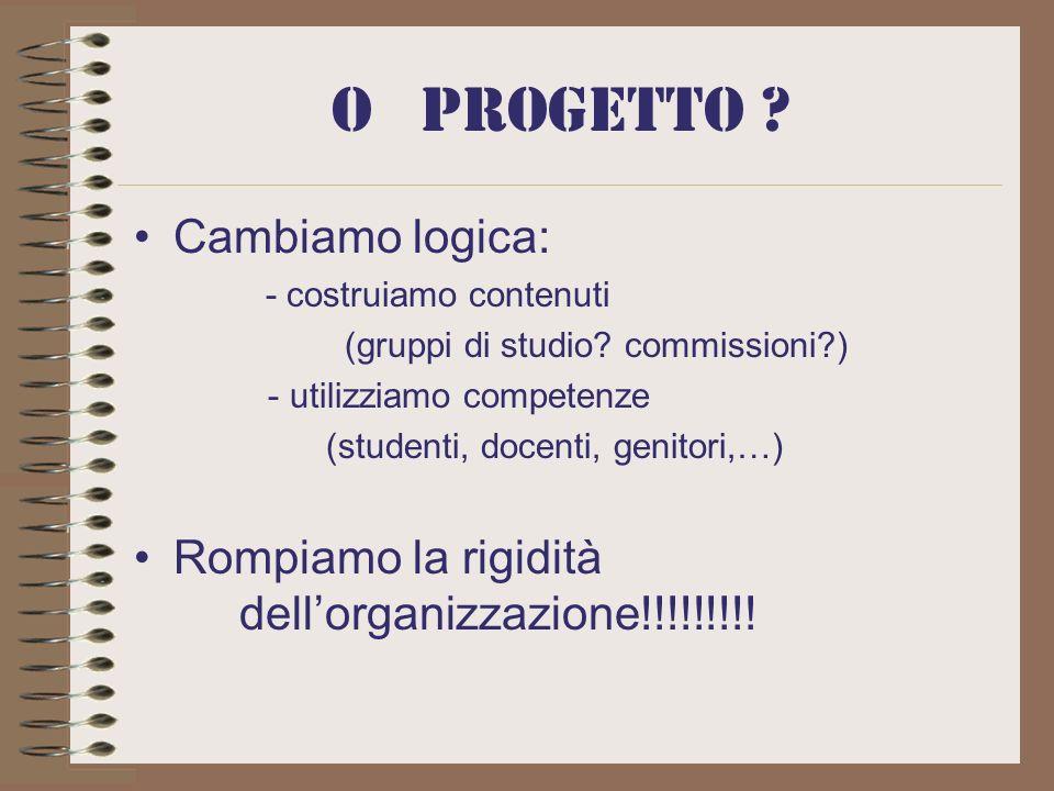 O progetto .Cambiamo logica: - costruiamo contenuti (gruppi di studio.