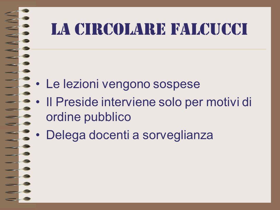 La circolare Falcucci Le lezioni vengono sospese Il Preside interviene solo per motivi di ordine pubblico Delega docenti a sorveglianza