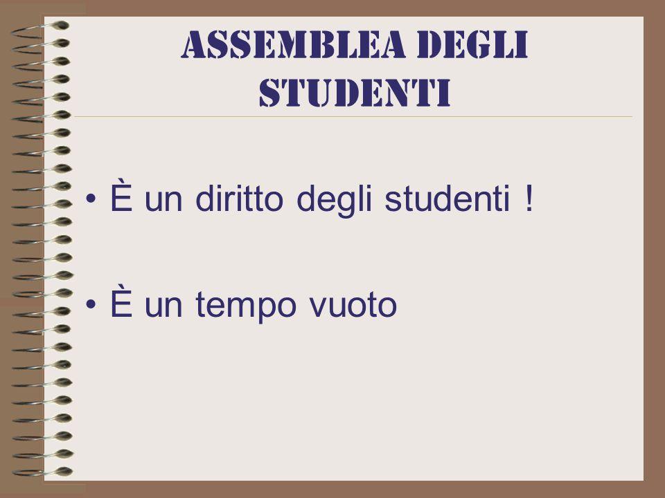 Assemblea DEGLI STUDENTI È un diritto degli studenti ! È un tempo vuoto