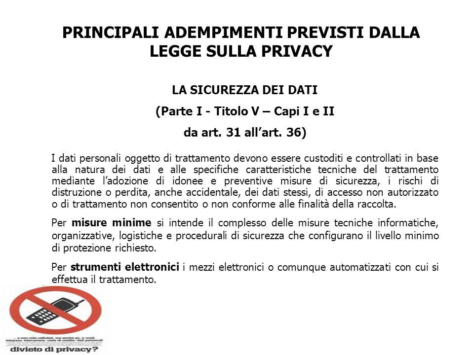 PRINCIPALI ADEMPIMENTI PREVISTI DALLA LEGGE SULLA PRIVACY LA SICUREZZA DEI DATI (Parte I - Titolo V – Capi I e II da art. 31 allart. 36) I dati person