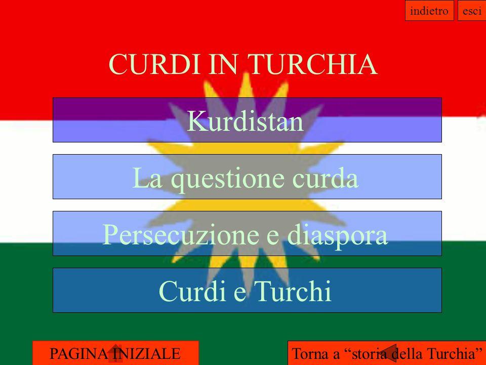 PAGINA INIZIALE indietroesci CURDI IN TURCHIA Kurdistan La questione curda Curdi e Turchi Persecuzione e diaspora Torna a storia della Turchia