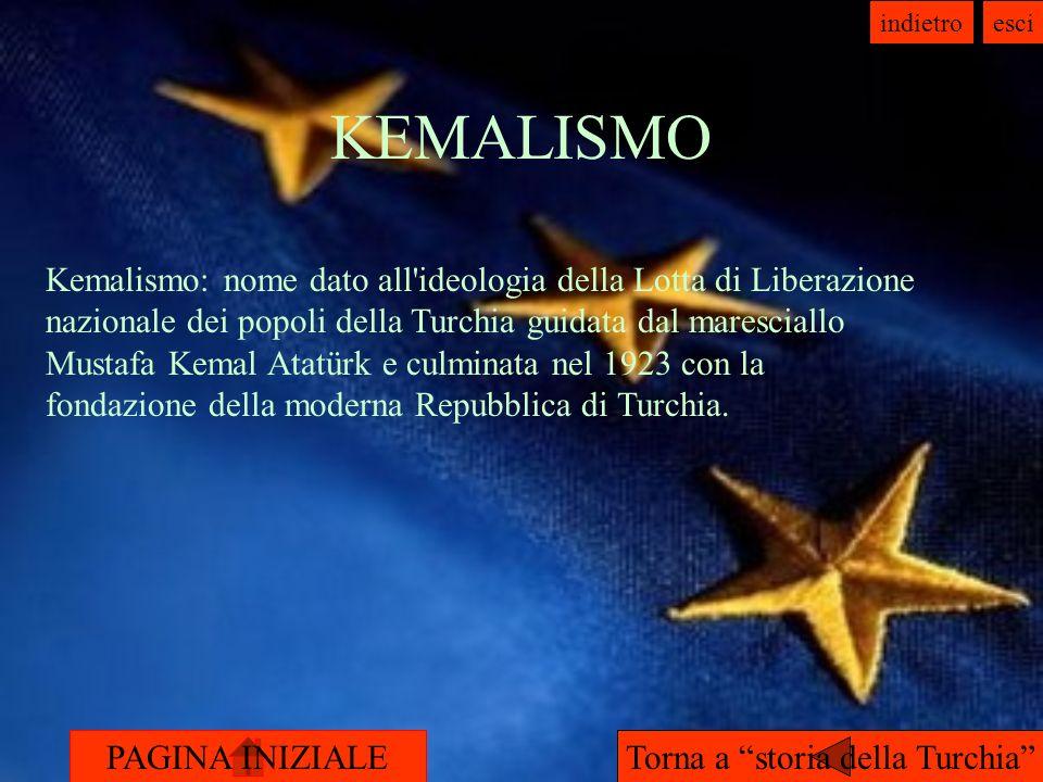 PAGINA INIZIALE indietroesci KEMALISMO Torna a storia della Turchia Kemalismo: nome dato all ideologia della Lotta di Liberazione nazionale dei popoli della Turchia guidata dal maresciallo Mustafa Kemal Atatürk e culminata nel 1923 con la fondazione della moderna Repubblica di Turchia.