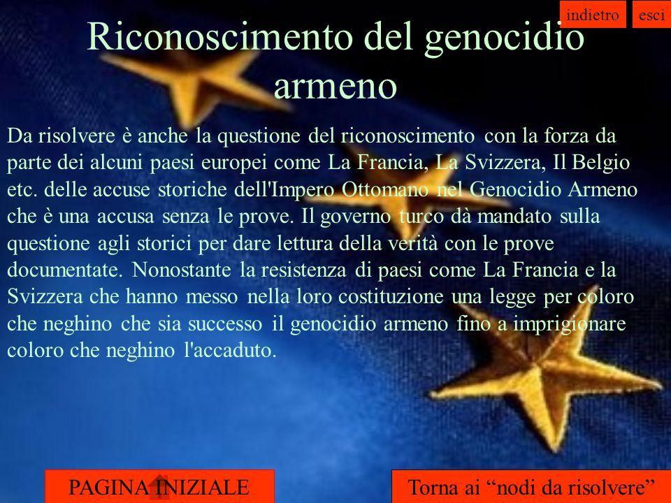 PAGINA INIZIALE indietroesci Riconoscimento del genocidio armeno Da risolvere è anche la questione del riconoscimento con la forza da parte dei alcuni paesi europei come La Francia, La Svizzera, Il Belgio etc.