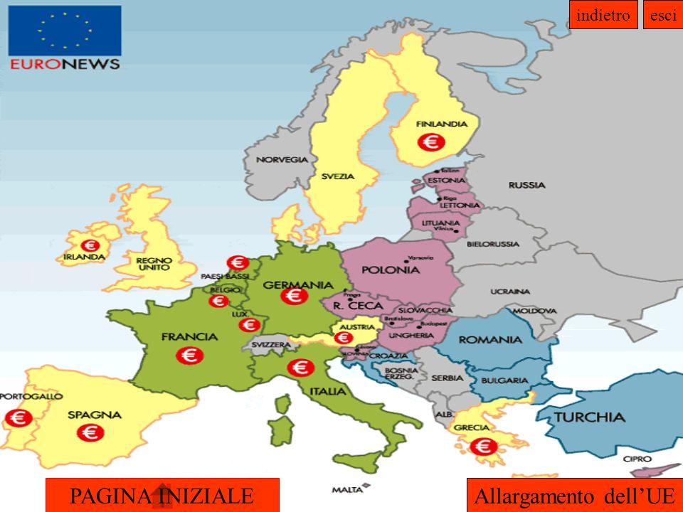 PAGINA INIZIALE indietroesci CRITERI DI COPENHAGEN Criterio politico : presenza di istituzioni stabili che garantiscano la democrazia, lo stato di diritto, i diritti dell uomo, il rispetto delle minoranze e la loro tutela; Criterio economico : esistenza di un economia di mercato affidabile e capacità di far fronte alle forze del mercato e alla pressione concorrenziale all interno dell Unione Europea; Adesione all acquis comunitario : accettare gli obblighi derivanti dall adesione e, in particolare, gli obiettivi dell unione politica, economica e monetaria.