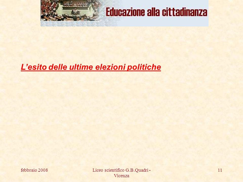 febbraio 2008Liceo scientifico G.B.Quadri - Vicenza 11 Lesito delle ultime elezioni politiche