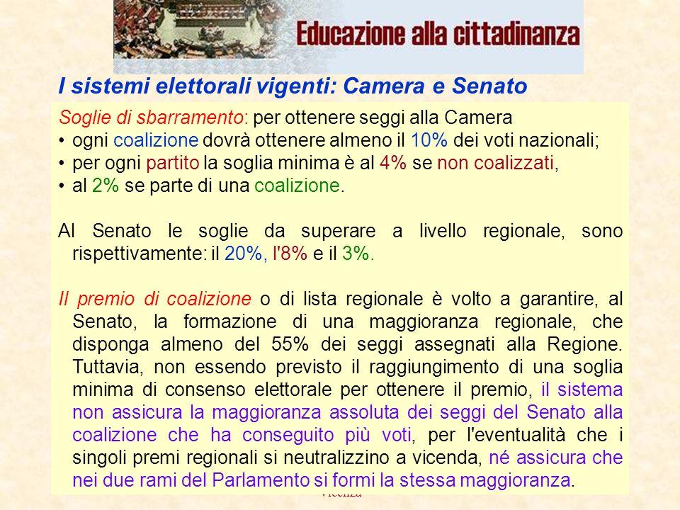 febbraio 2008Liceo scientifico G.B.Quadri - Vicenza 14 Soglie di sbarramento: per ottenere seggi alla Camera ogni coalizione dovrà ottenere almeno il 10% dei voti nazionali; per ogni partito la soglia minima è al 4% se non coalizzati, al 2% se parte di una coalizione.