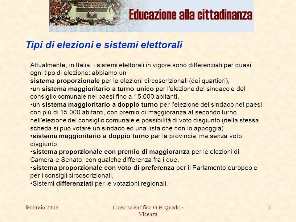 febbraio 2008Liceo scientifico G.B.Quadri - Vicenza 23 MARCHE: LEGGE ELETTORALE IN PARTE CAMBIATA - Si voterà con un mix tra vecchia legge nazionale e nuova legge regionale per il rinnovo del consiglio regionale.