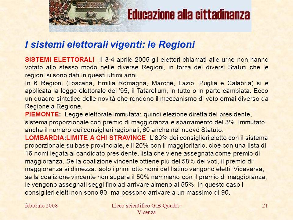 febbraio 2008Liceo scientifico G.B.Quadri - Vicenza 21 SISTEMI ELETTORALI Il 3-4 aprile 2005 gli elettori chiamati alle urne non hanno votato allo stesso modo nelle diverse Regioni, in forza dei diversi Statuti che le regioni si sono dati in questi ultimi anni.