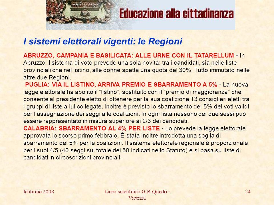 febbraio 2008Liceo scientifico G.B.Quadri - Vicenza 24 ABRUZZO, CAMPANIA E BASILICATA: ALLE URNE CON IL TATARELLUM - In Abruzzo il sistema di voto prevede una sola novità: tra i candidati, sia nelle liste provinciali che nel listino, alle donne spetta una quota del 30%.
