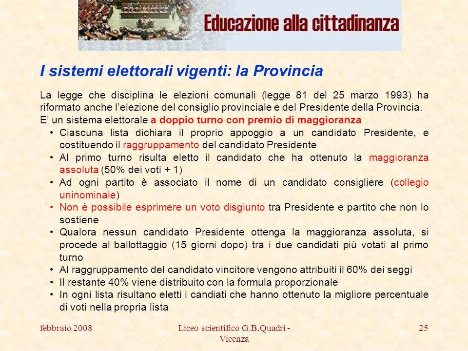 febbraio 2008Liceo scientifico G.B.Quadri - Vicenza 25 La legge che disciplina le elezioni comunali (legge 81 del 25 marzo 1993) ha riformato anche lelezione del consiglio provinciale e del Presidente della Provincia.