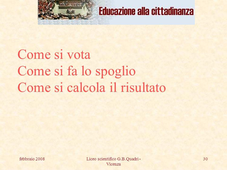 febbraio 2008Liceo scientifico G.B.Quadri - Vicenza 30 Come si vota Come si fa lo spoglio Come si calcola il risultato