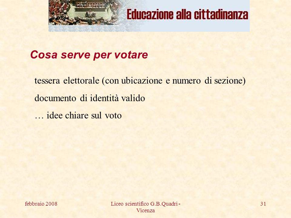 febbraio 2008Liceo scientifico G.B.Quadri - Vicenza 31 Cosa serve per votare tessera elettorale (con ubicazione e numero di sezione) documento di identità valido … idee chiare sul voto
