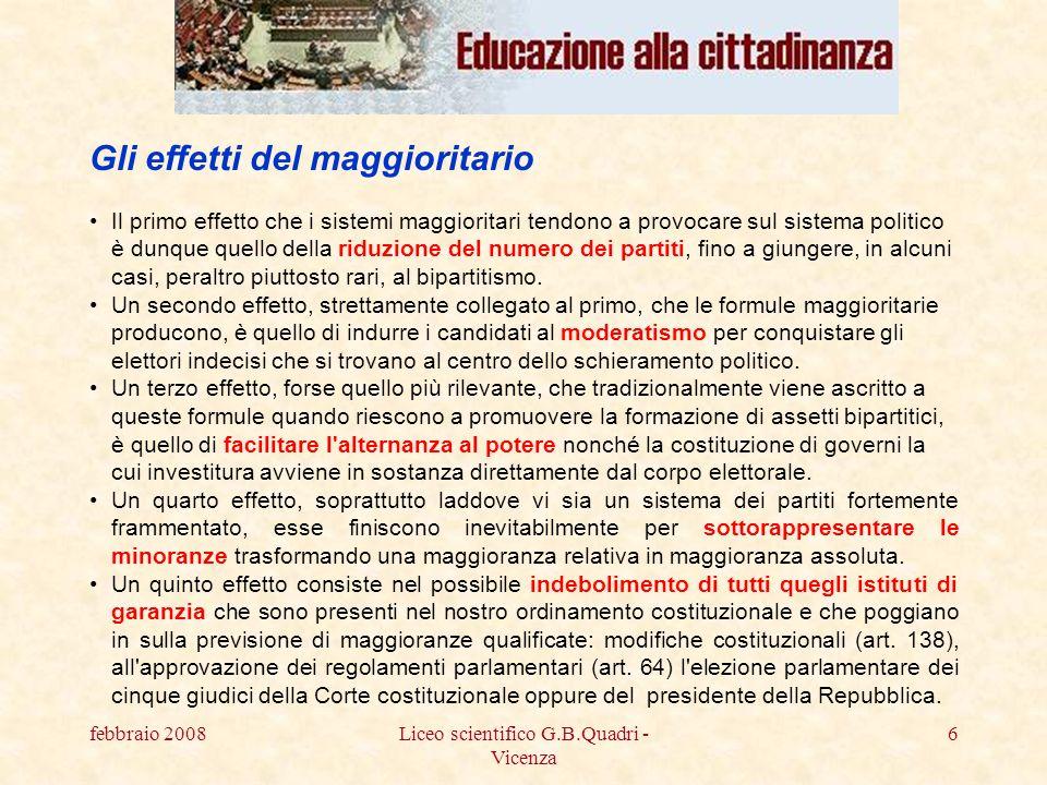 febbraio 2008Liceo scientifico G.B.Quadri - Vicenza 17 LItalia partecipa al parlamento europeo con 87 membri.
