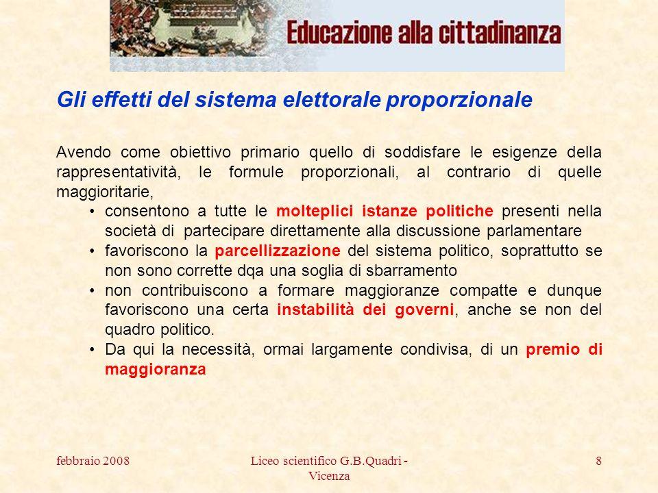 febbraio 2008Liceo scientifico G.B.Quadri - Vicenza 19 Il quadro generale della elezione in Veneto: http://www.consiglioveneto.it/index.jsp Il facsimile della scheda: http://www.consiglioveneto.it/testi_homepage/fac_simile_scheda.pdf Il sistema elettorale: http://www.consiglioveneto.it/testi_homepage/guida_elez.pdf I risultati: http://elezioni.consiglioveneto.it/elezio/progs/veneto05.stohttp://elezioni.consiglioveneto.it/elezio/progs/veneto05.sto I sistemi elettorali vigenti: la Regione Veneto