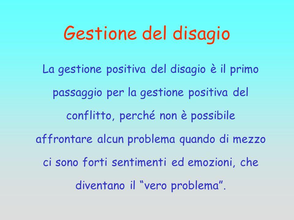 Gestione del disagio La gestione positiva del disagio è il primo passaggio per la gestione positiva del conflitto, perché non è possibile affrontare a