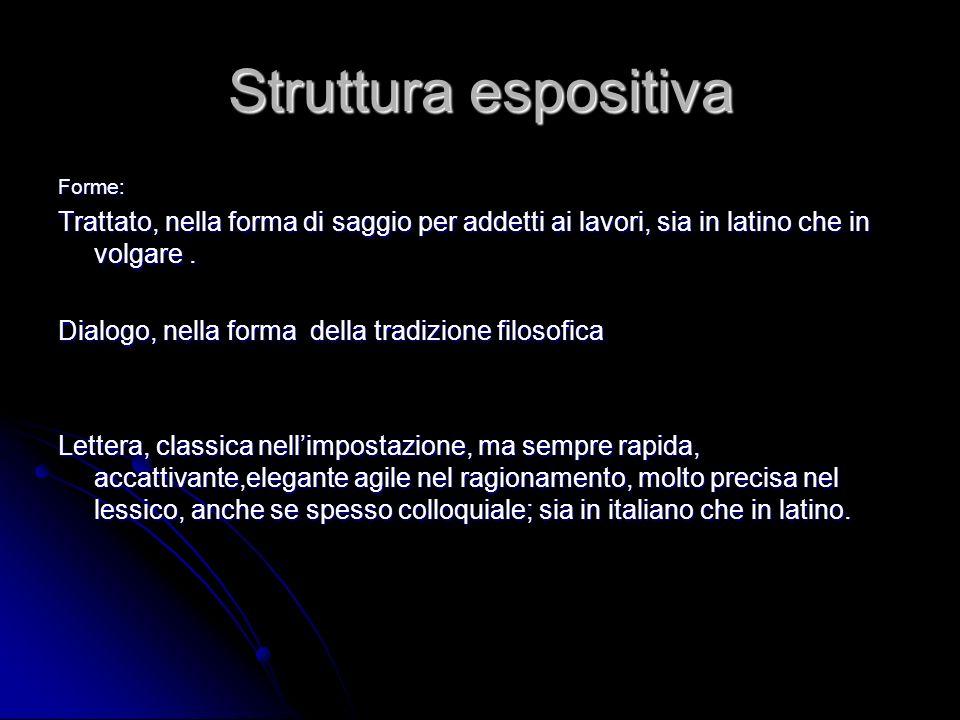 Struttura espositiva Forme: Trattato, nella forma di saggio per addetti ai lavori, sia in latino che in volgare. Dialogo, nella forma della tradizione