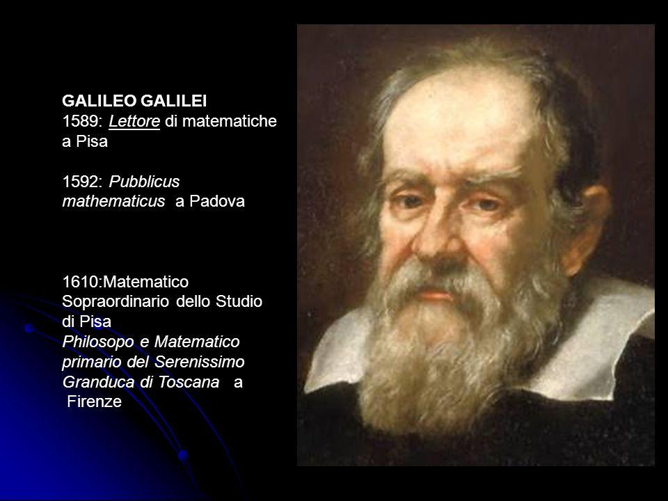 GALILEO GALILEI 1589: Lettore di matematiche a Pisa 1592: Pubblicus mathematicus a Padova 1610:Matematico Sopraordinario dello Studio di Pisa Philosop