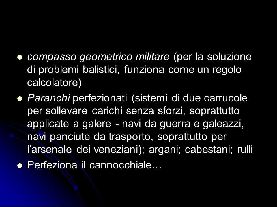 compasso geometrico militare (per la soluzione di problemi balistici, funziona come un regolo calcolatore) Paranchi perfezionati (sistemi di due carru