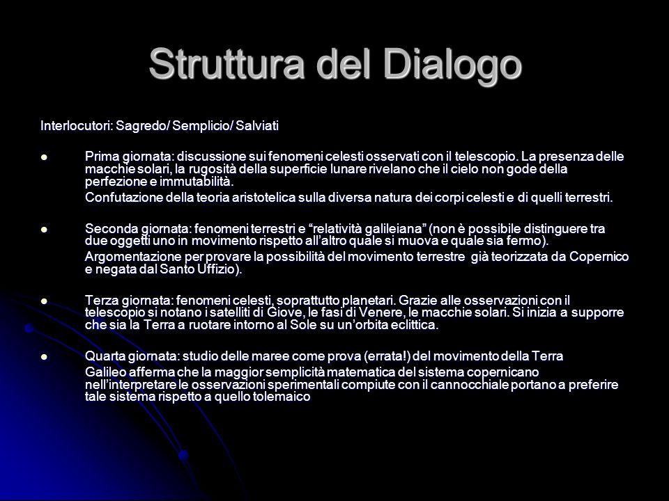 Struttura del Dialogo Interlocutori: Sagredo/ Semplicio/ Salviati Prima giornata: discussione sui fenomeni celesti osservati con il telescopio. La pre