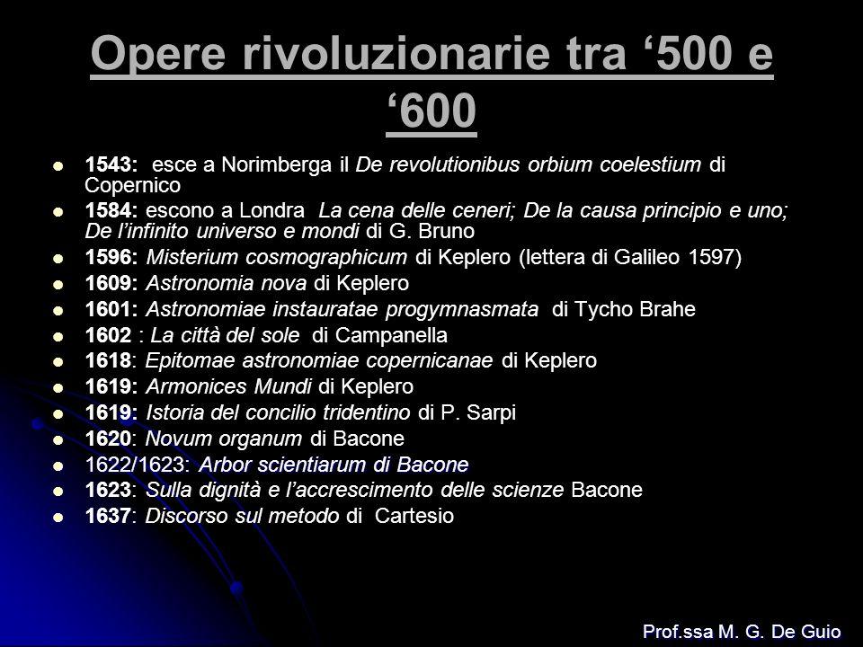Opere rivoluzionarie tra 500 e 600 1543: esce a Norimberga il De revolutionibus orbium coelestium di Copernico 1584: escono a Londra La cena delle cen