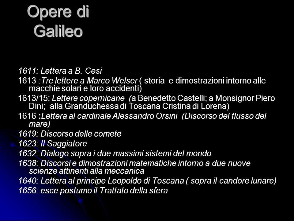 Opere di Galileo 1611: Lettera a B. Cesi 1613 :Tre lettere a Marco Welser ( storia e dimostrazioni intorno alle macchie solari e loro accidenti) 1613/