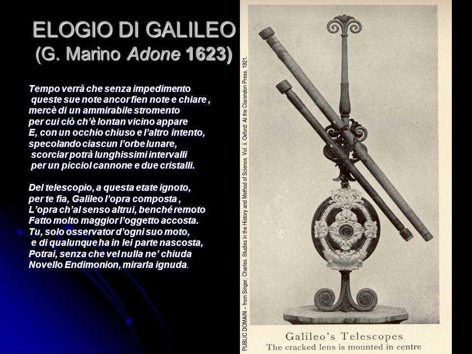 ELOGIO DI GALILEO (G. Marino Adone 1623) Tempo verrà che senza impedimento queste sue note ancor fien note e chiare, queste sue note ancor fien note e
