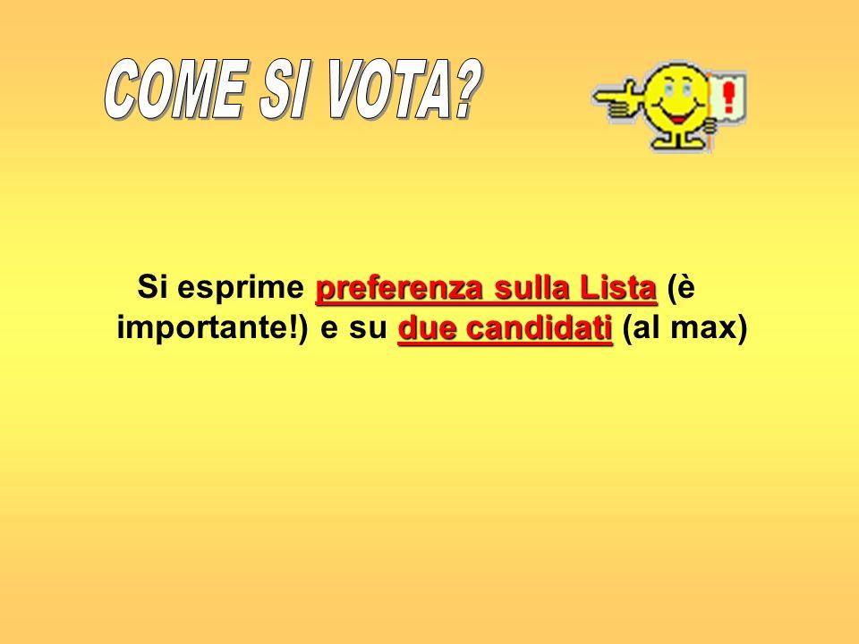 preferenza sulla Lista due candidati Si esprime preferenza sulla Lista (è importante!) e su due candidati (al max)