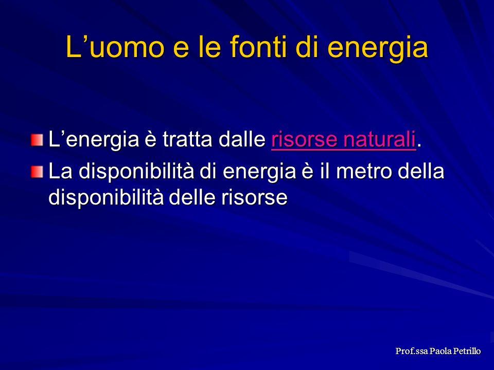 Luomo e le fonti di energia Lenergia è tratta dalle risorse naturali. risorse naturalirisorse naturali La disponibilità di energia è il metro della di