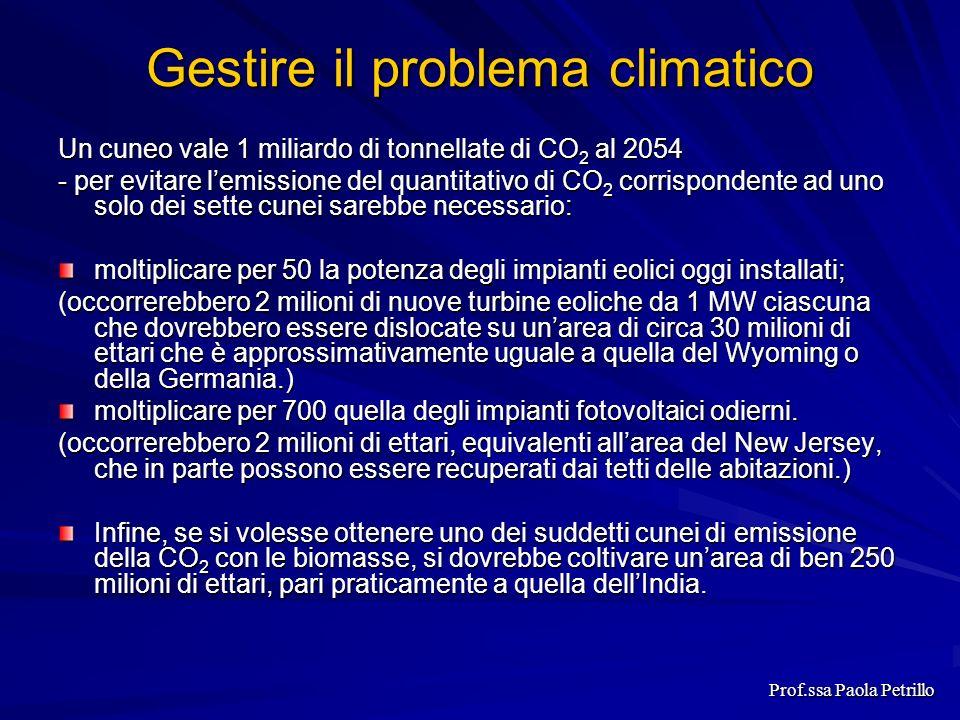 Gestire il problema climatico Un cuneo vale 1 miliardo di tonnellate di CO 2 al 2054 - per evitare lemissione del quantitativo di CO 2 corrispondente