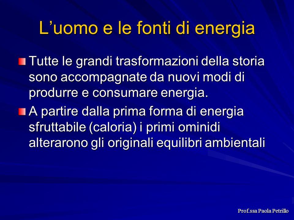 Luomo e le fonti di energia Tutte le grandi trasformazioni della storia sono accompagnate da nuovi modi di produrre e consumare energia. A partire dal
